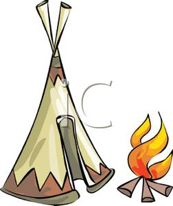 Fire Burning By a Tipi.