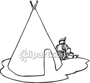 American Sitting Outside a Tipi.