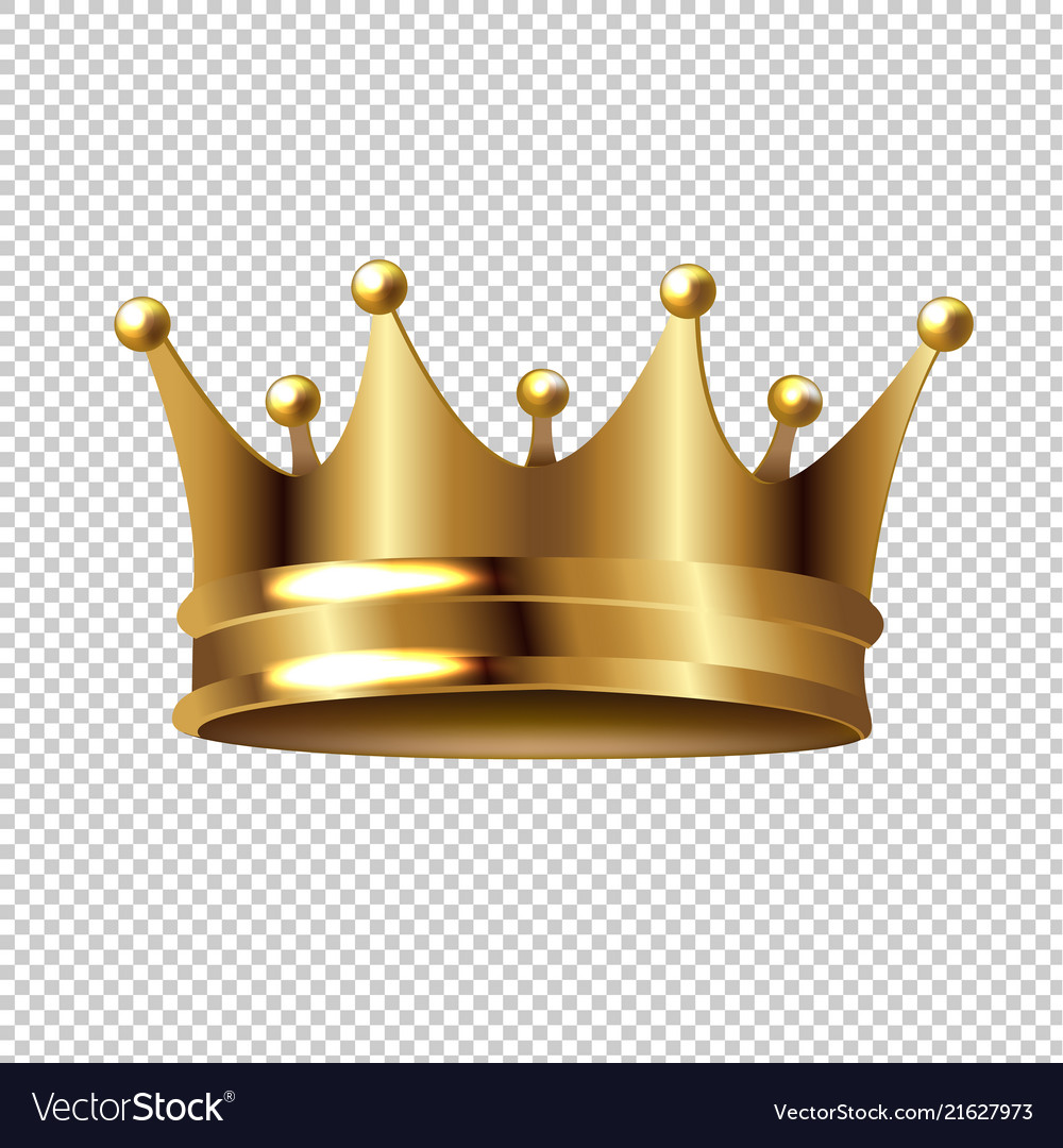 Golden crown isolated transparent background.