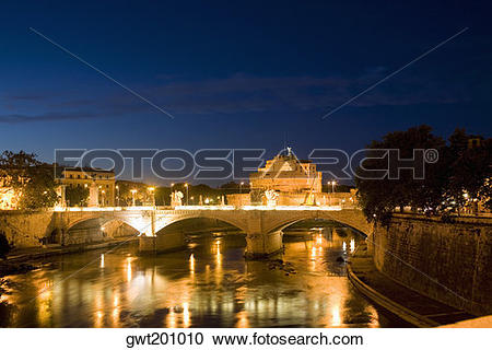 Stock Photography of Bridge across a river, Ponte Sant Angelo.