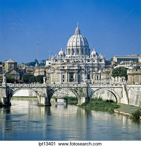 Stock Photography of Tiber river and San Pietro, St Peter's.