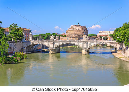 Stock Photos of Tiber River and the bridge.