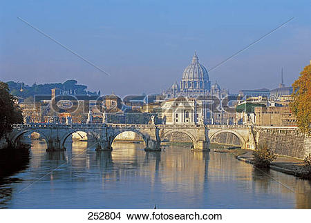 Stock Photo of Arch bridge over river with St. Peter's Basilica.