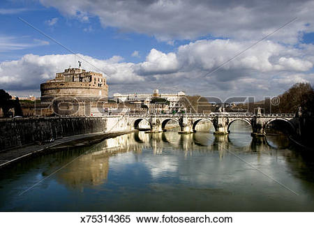 Stock Image of Ponte Sant'Angelo and the Tiber River x75314365.