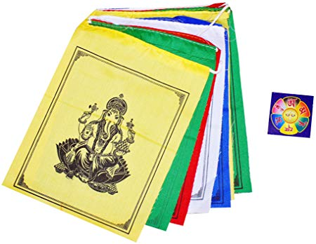 Tibetan 6 X 7 Ganesha Ganesh Prayer Flags with a Free Copyrighted Buddha  Eye Magnet.