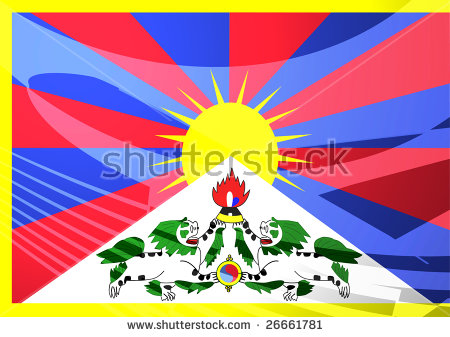 Airplane Image Superimposed Over Flag Of Tibet, National Symbol.