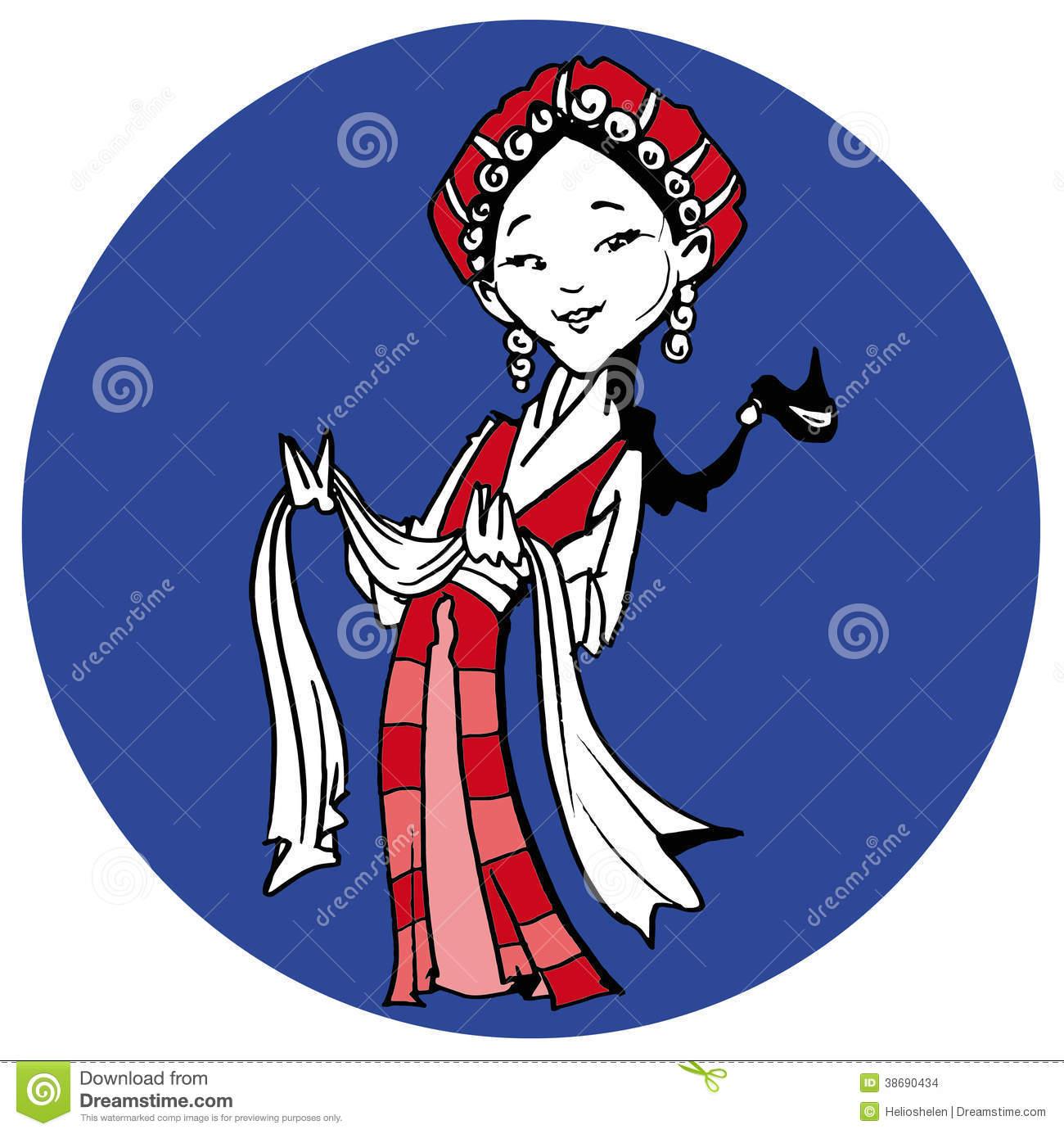 Tibetan Girl With Khata, Cartoon Stock Images.
