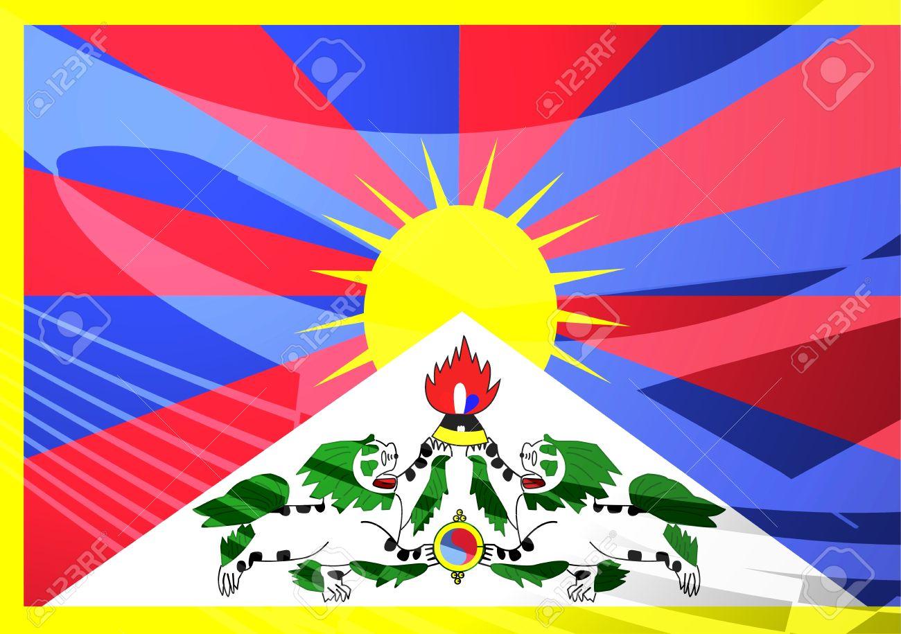 Flag Of Tibet, National Symbol Illustration Clipart Stock Photo.