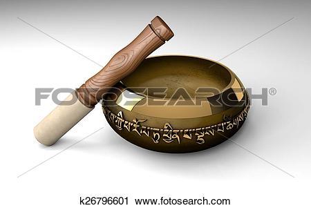 Clipart of Tibetan buddhist singing bowl for m k26796601.