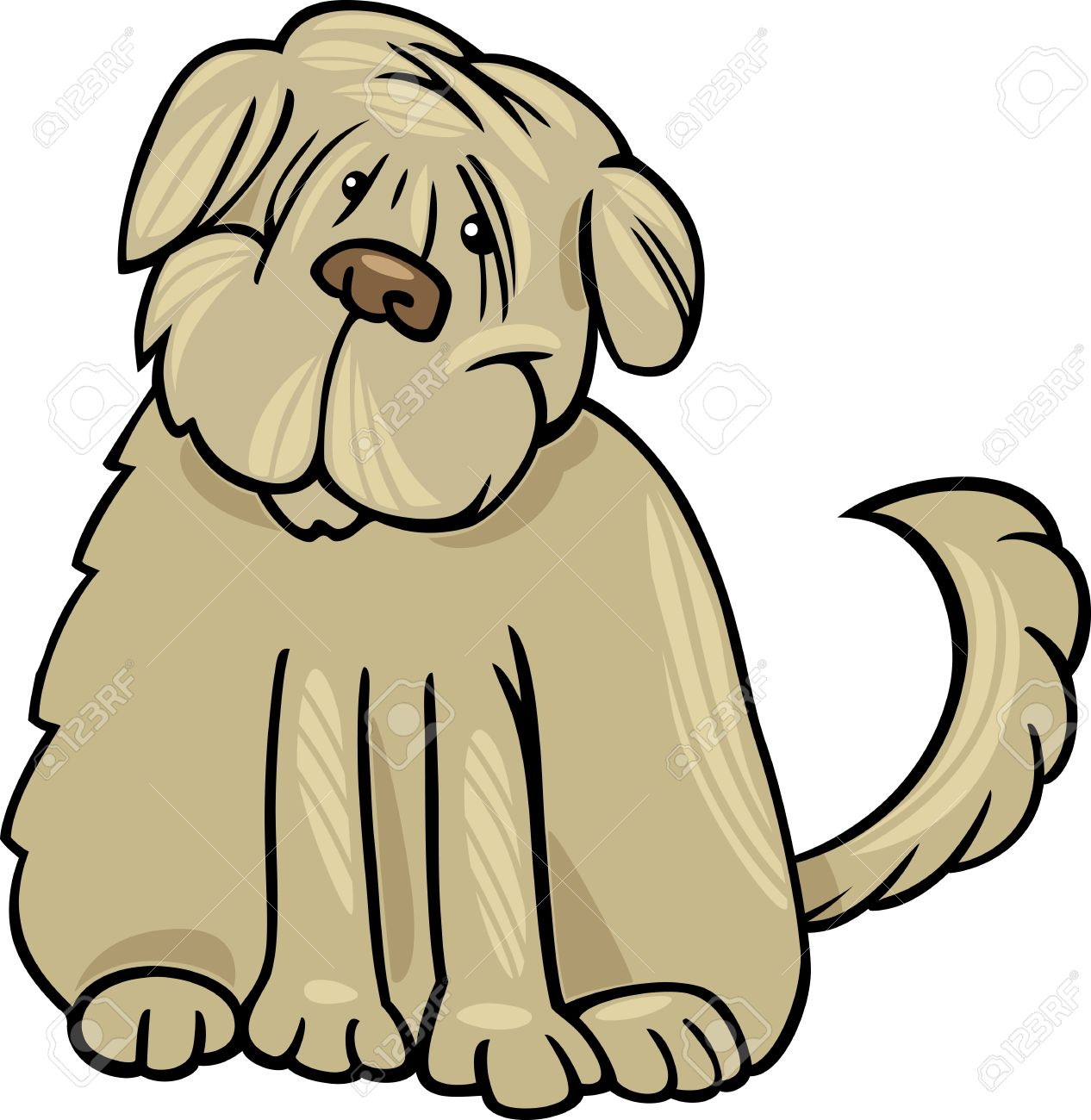 Cartoon Illustration Of Funny Purebred Tibetan Terrier Dog Or.