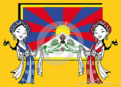 Tibetan Girls With Khata And Tibetan Flag,Cartoon Stock.