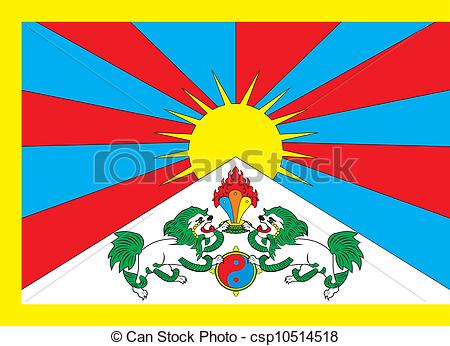 Vector Clip Art of Tibet flag.