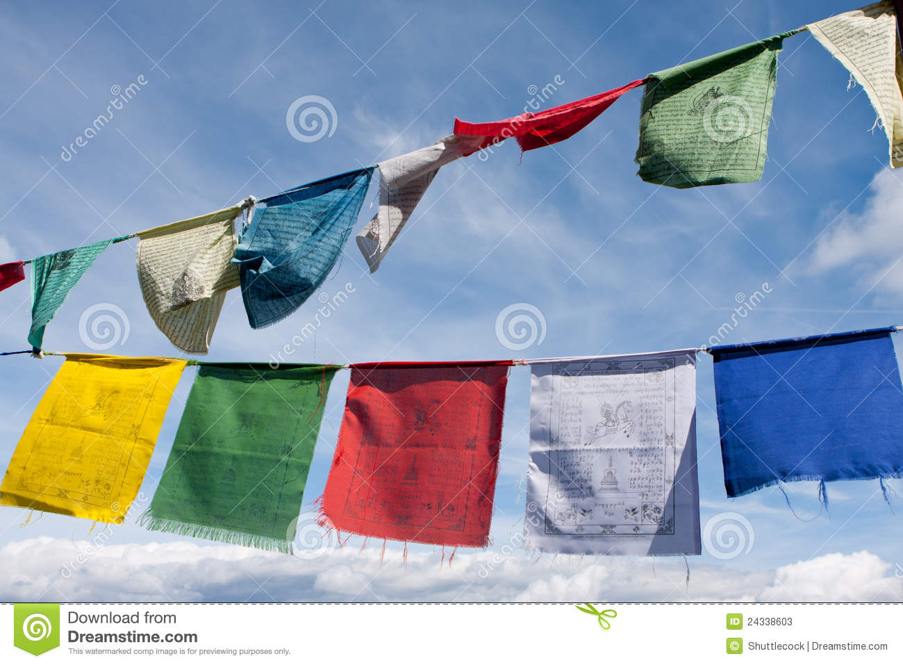 Tibetan Buddhist Prayer Flags Stock Photos.