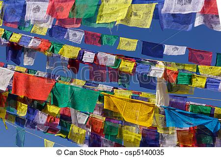 Stock Images of tibetan prayer flags.