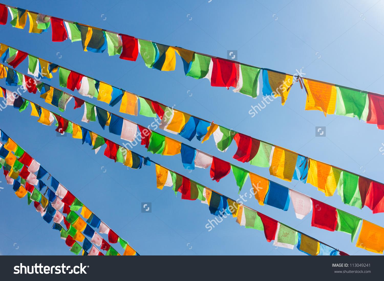 Buddhist Tibetan Prayer Flags Waving Wind Stock Photo 113049241.