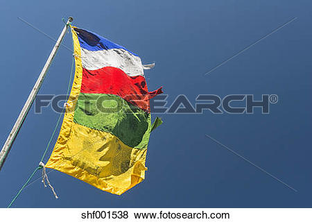 Pictures of New Zealand, Nelson, Tibetan prayer flag flying in the.