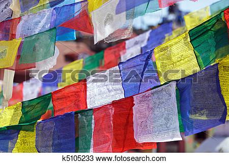 Tibetan prayer flags clipart.