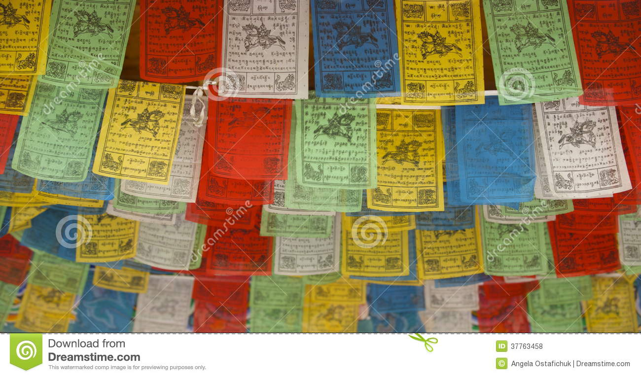 Tibetan Prayer Flags Editorial Stock Photo.