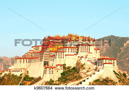 Stock Photo of Landmark of the famous Potala Palace in Lhasa Tibet.
