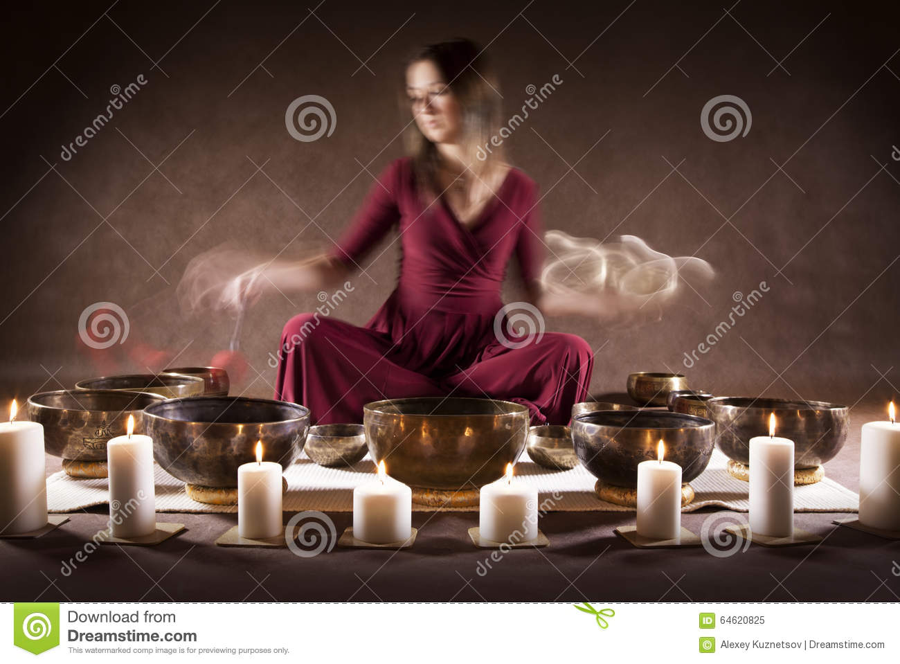 Meditation With Tibetan Singing Bowls Stock Photo.