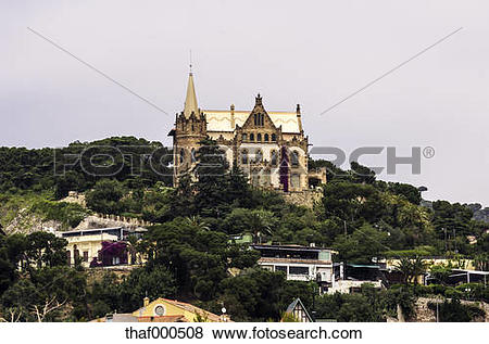 Pictures of Spain, Barcelona, building at mountain Tibidabo.