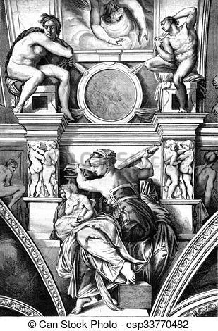 Stock Illustration of Sistine Chapel, The Libyan Sibyl, fresco by.