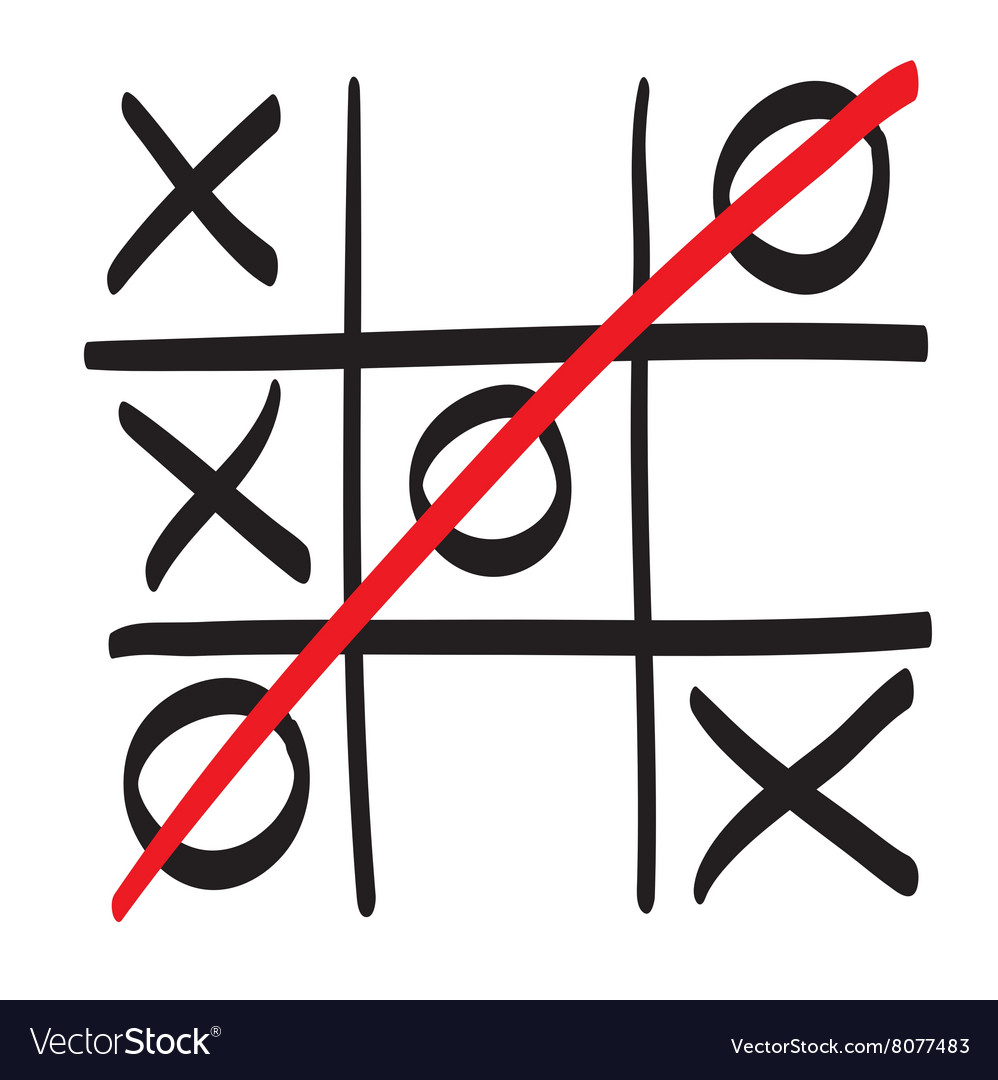 Hand drawn tic tac toe scribble icon symbol.