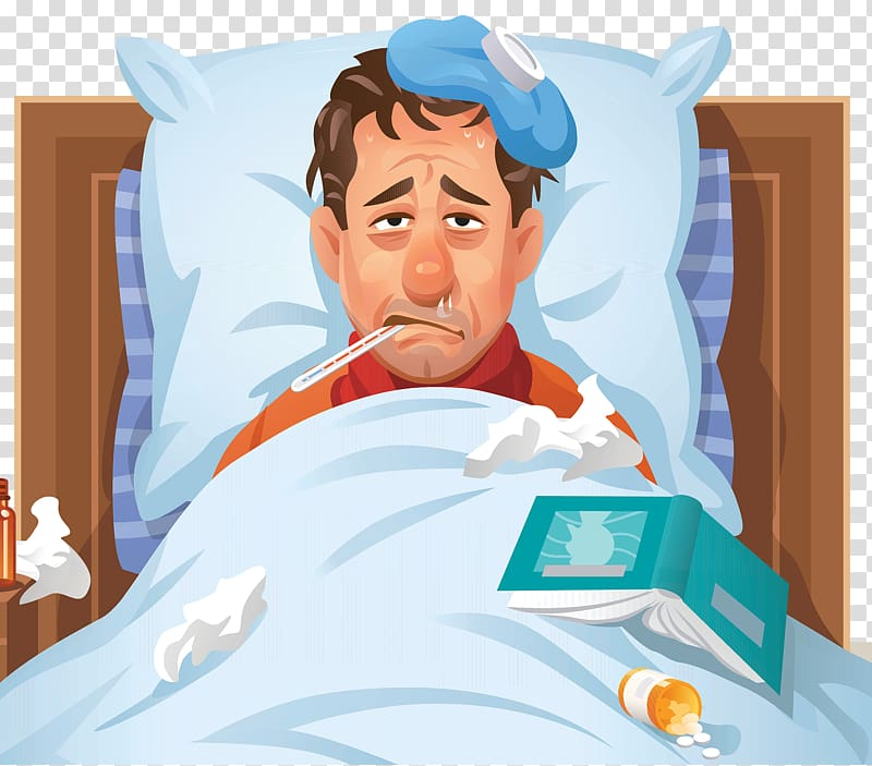 Sick man in bed illustration, Common cold Influenza Disease.