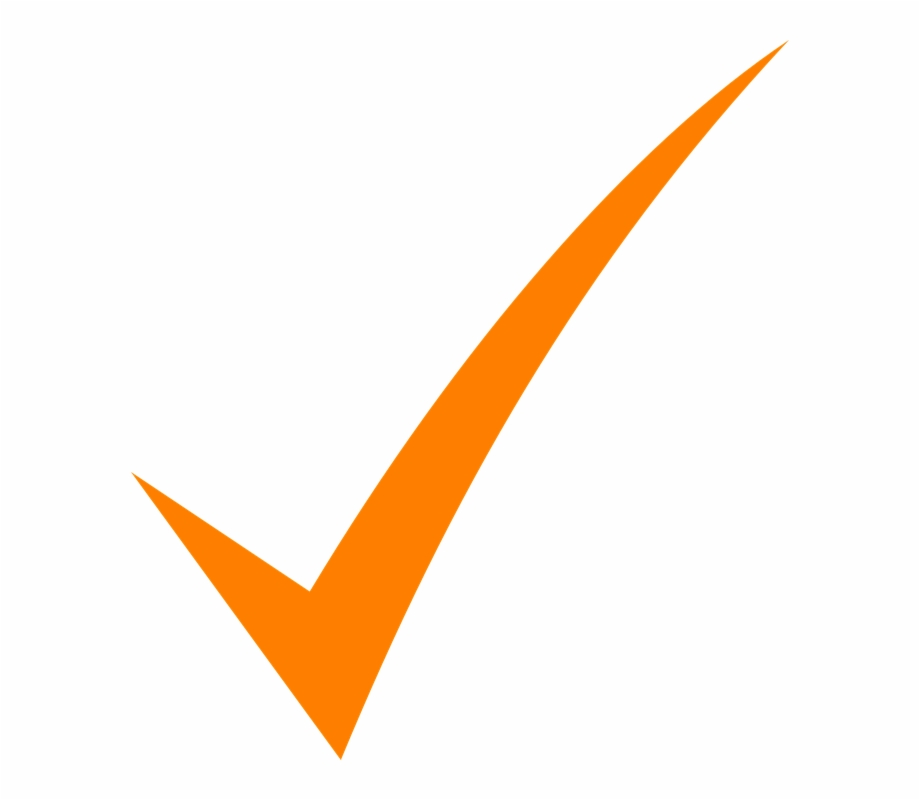 Check Mark Orange Tick Symbol Icon Sign Isolated.