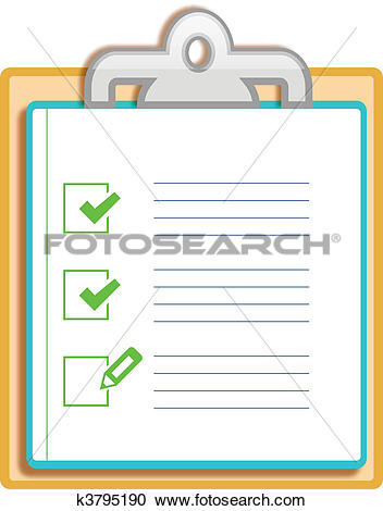 Clipart of Notepad clipboard with ticked box k3795190.
