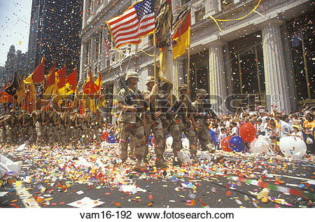 Stock Photo of Soldiers Marching with Flags, Ticker Tape Parade.