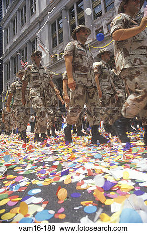 Pictures of Soldiers Marching in Ticker Tape Parade, New York City.
