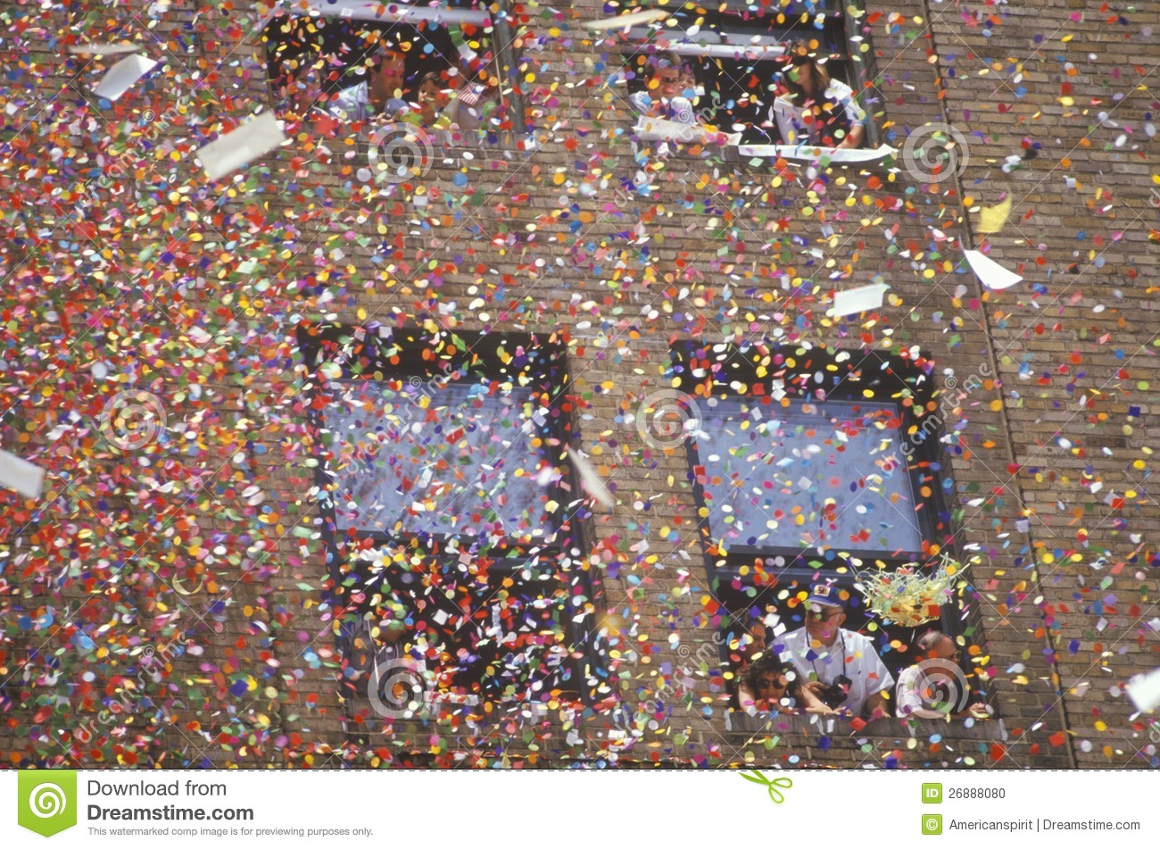 Marching Band In A Ticker Tape Parade On Broadway Editorial Stock.