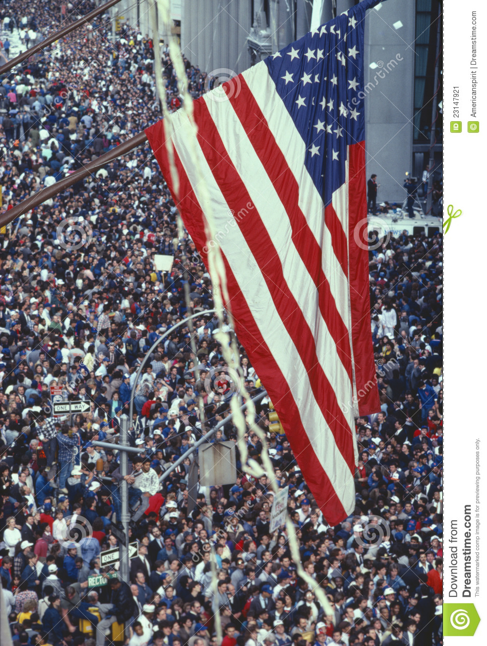 American Flag Over Tickertape Parade Editorial Photo.