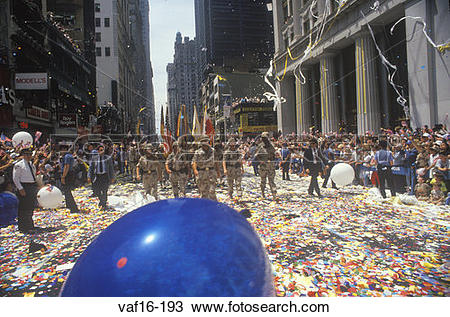 Stock Photo of Desert Storm Victory Ticker Tape Parade, New York.