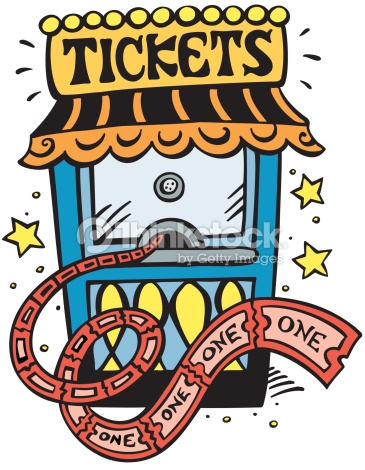 Ticket Booth Tickets One Color Vector Art.