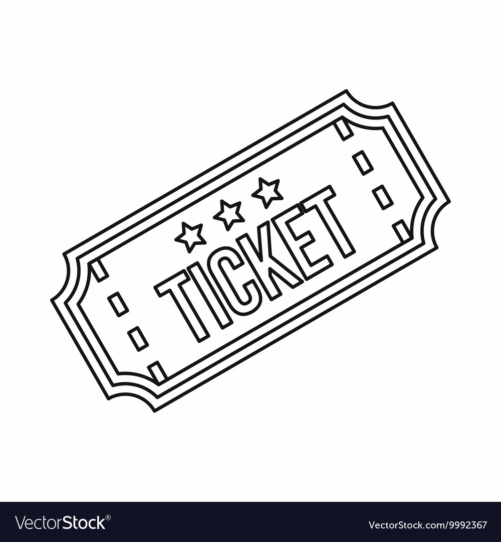 Ticket icon in outline style.