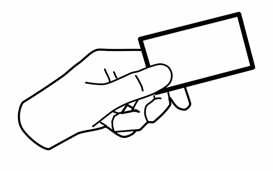 Hand Card Holding Giving Ticket Png Image.