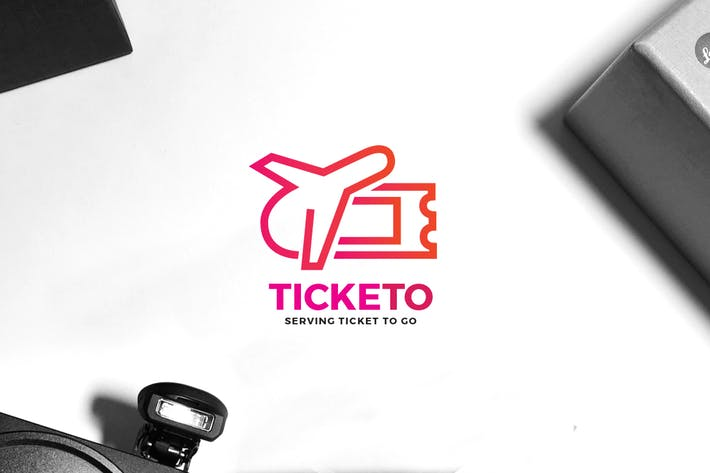 Travel Ticket Logo by VisualColony on Envato Elements.