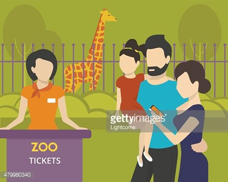 Booking tickets to zoo Clipart Image.