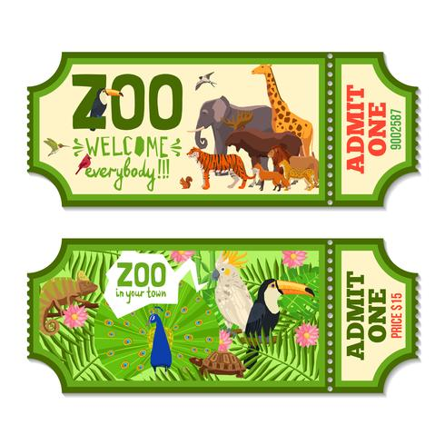 Colorful Zoo Tickets With Tropical Background.