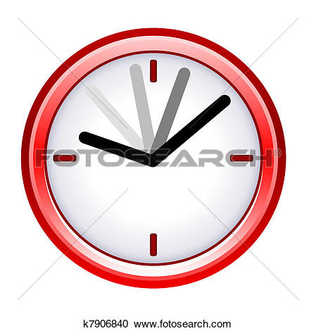 Stock Illustrations of Time ticking by on red clock; isolated on.