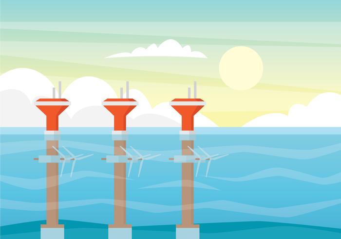 Tidal Energy Illustration Concept.