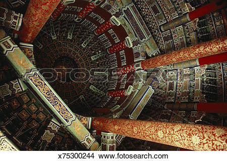 Stock Photo of China, Beijing, Temple of Heaven, dome interior.