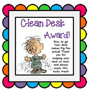 Use this Clean Desk Award to reward students for their tidy.