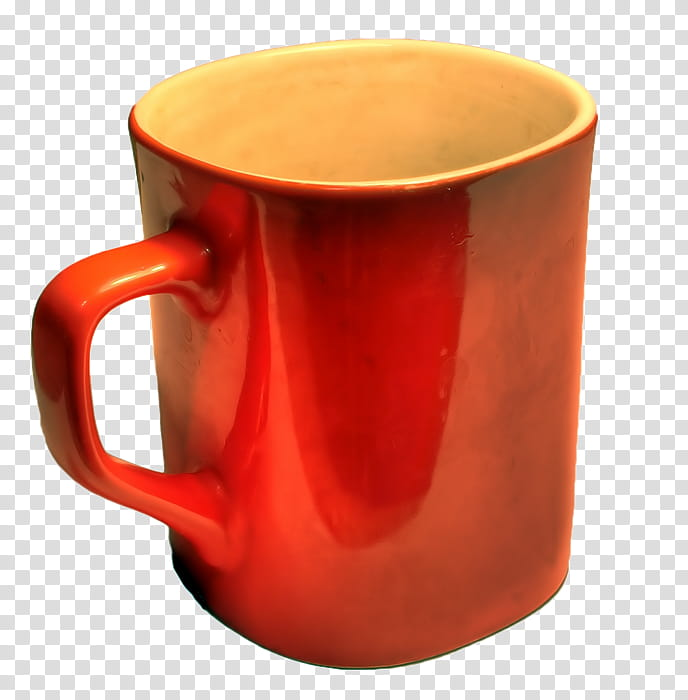 Mugs, red ceramic mug transparent background PNG clipart.