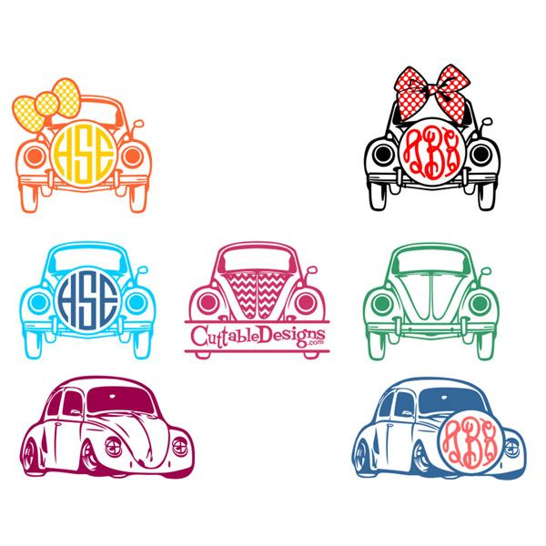 VW Bug Monogram Svg Cuttable Frames.