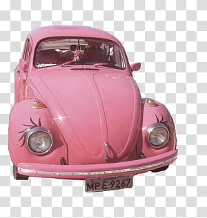 PINK PASTEL , pink Volkswagen Beetle transparent background.