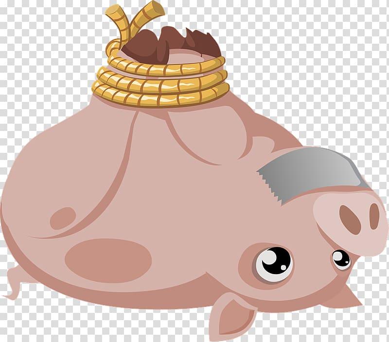 Wild boar Hogtie , Brown boar tied up upside down.