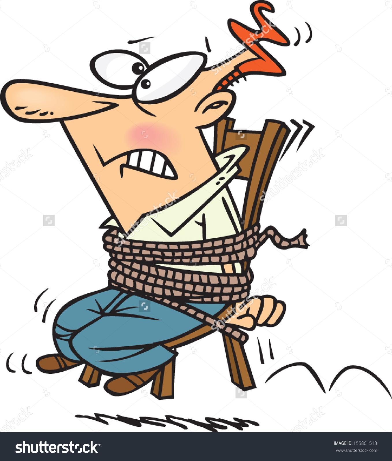 Cartoon Man Tied Chair Stock Vector 155801513.